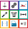flat icon service set of suspension auto jack vector image vector image