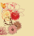 floral border roses and tulips vector image
