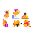 funny yellow humanized chicken in various vector image vector image