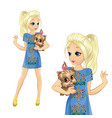 girl in denim dress hold cute dog vector image