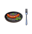 grilled barbequed sausage served on frying pan vector image vector image