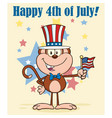 happy monkey cartoon character with american flag vector image vector image