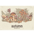 image autumn background with white mushrooms vector image