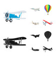 isolated object of plane and transport sign set vector image