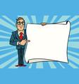 joyful businessman showing on mockup copy vector image vector image
