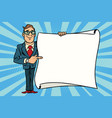 joyful businessman showing on the mockup copy vector image vector image