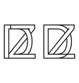 logo zd and dz icon sign two interlaced letters z vector image vector image
