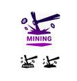 mining logo bitcoin mining metal pickax vector image vector image