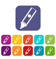 permanent marker icons set flat vector image vector image