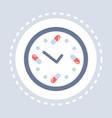 pills drug clock icon healthcare medical service vector image