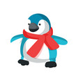 plastic penguin in red scarf vector image