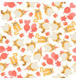 seamless birthday pattern with owls and cat vector image