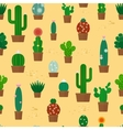 Seamless cactus pattern vector image