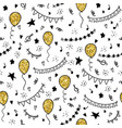 seamless pattern hand drawn doodle cartoon objects vector image vector image