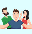 selfie with friends friendly smiling teenagers vector image vector image