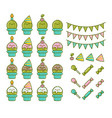 set birthday party cactus element designs vector image