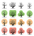 set of sixteen tree vector image