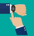 smart watch on hand vector image vector image