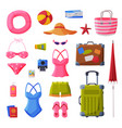 summer vacation objects collection swimsuit vector image vector image