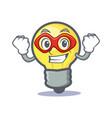 super hero light bulb character cartoon vector image vector image