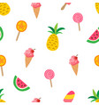 sweet summer pattern with pineapples watermelons vector image