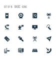 telecommunication icons set with radio phone book vector image vector image