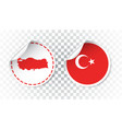 turkey sticker with flag and map label round tag vector image vector image