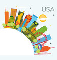 usa skyline with color skyscrapers and landmarks vector image vector image
