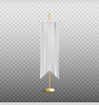 white long vertical pennant empty mockup on stand vector image vector image
