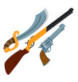 wild west guns slasher revolver shotgun vector image vector image