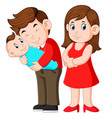woman and man holding a newborn vector image