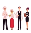 Cafe or restaurant team - chef cook waiter and vector image