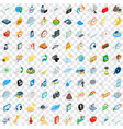 100 time icons set isometric 3d style vector image vector image