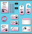 abstract stationery set for eyelash studio vector image