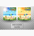 beautiful summer beach background collections vector image vector image