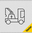 black line tow truck icon isolated on transparent vector image vector image