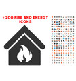 building fire icon with bonus fire collection vector image vector image
