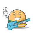 burger character fast food with guitar vector image vector image