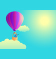 businessman on air balloon using telescope vector image