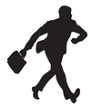 businessman walks black silhouette figure vector image vector image