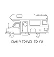 Camping Trailer Family Traveler Truck Outline Icon vector image vector image