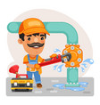 cartoon plumber repairing a pipe vector image