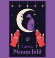 cat on moon praying hands holding a rosary i vector image vector image