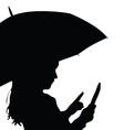 child with umbrella silhouette vector image vector image