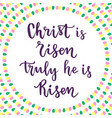 christ is risen truly he is risen lettering vector image