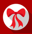 christmas bell icon on red background with long vector image vector image