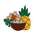 coconut cocktail pineapple flower tropical summer vector image vector image