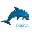 Cute cartoon dolphin character vector image vector image