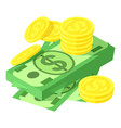 dollar and coins icon isometric style vector image vector image