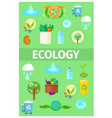 ecology poster with cartoon recycling icons set vector image vector image